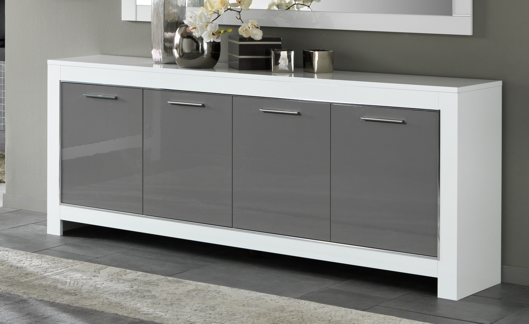 Buffet/bahut design 4 portes laqué blanc/gris Mégane