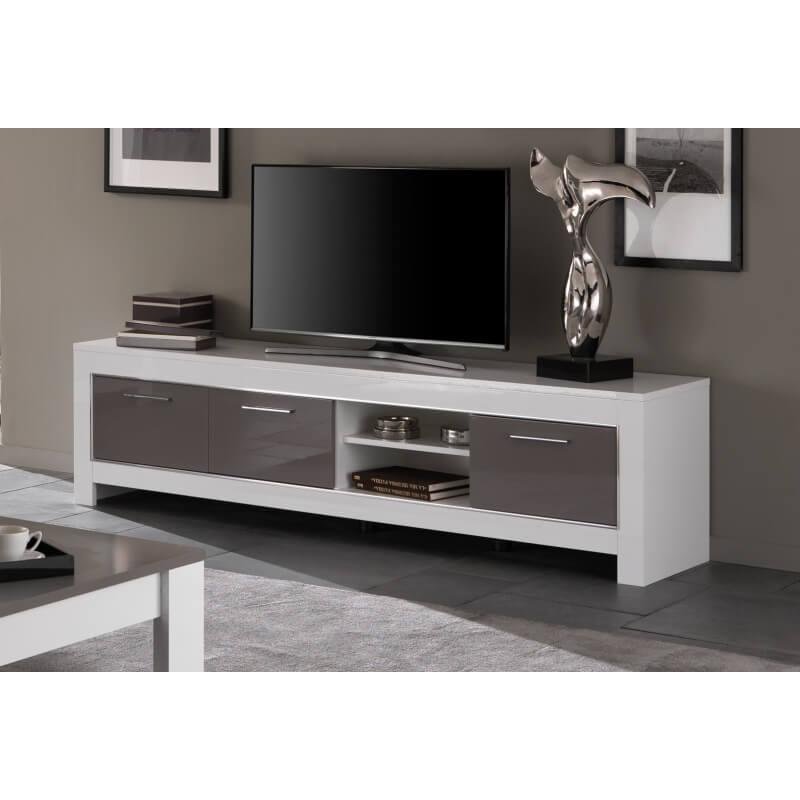 meuble tv design 207 cm laqu blanc gris m gane matelpro. Black Bedroom Furniture Sets. Home Design Ideas