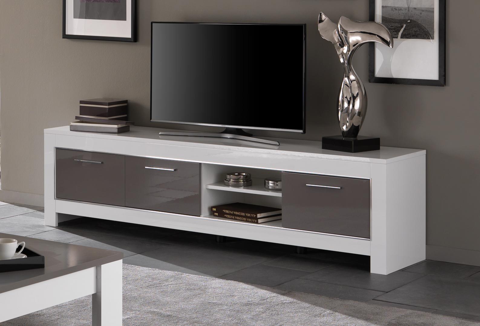 Meuble TV design 207 cm laqué blanc/gris Mégane