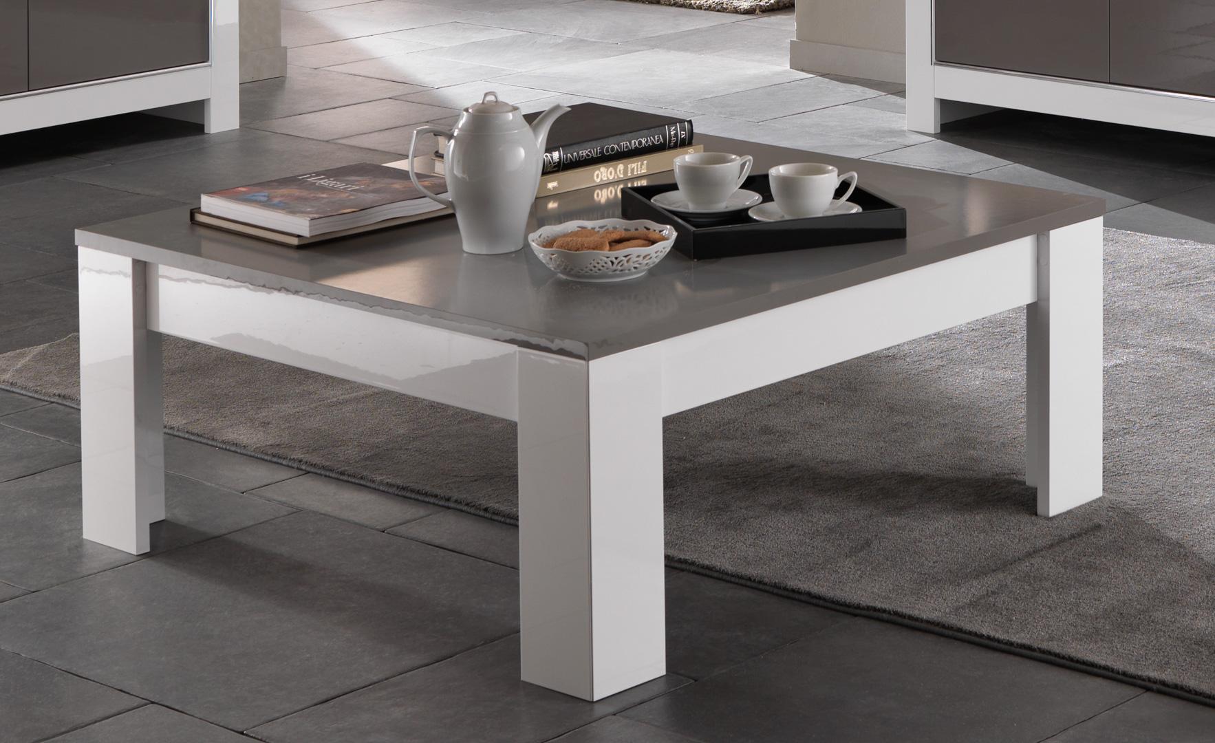Table basse carrée design laquée blanc/gris Mégane