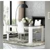 Table de salle à manger design laquée blanc/gris Mégane