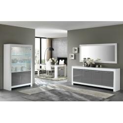 Salle à manger design laquée blanc/gris Mégane