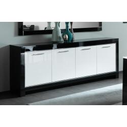 Buffet/bahut design 4 portes laqué blanc/noir Savana