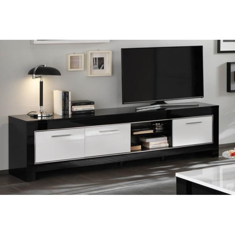 Meuble TV design 207 cm laqué blanc/noir Savana