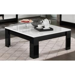 Table basse carrée design laquée blanc/noir Savana