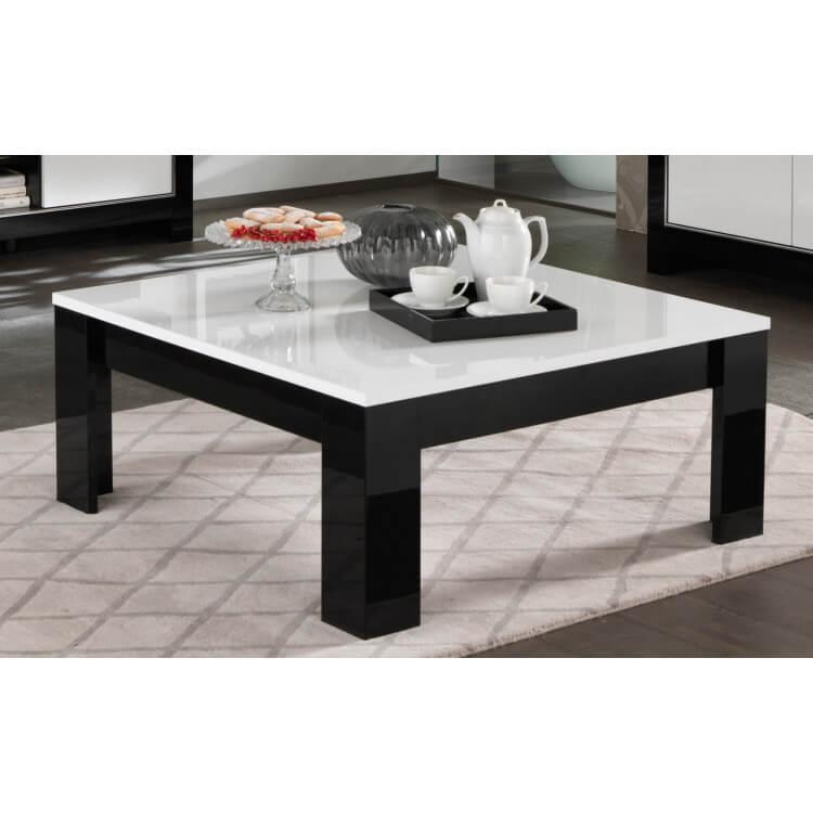 Table Basse Carrée Design Laquée Blancnoir Savana Matelpro