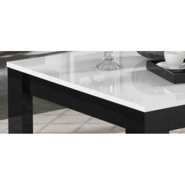 Table basse carr e design laqu e blanc noir savana matelpro - Table basse laquee noire ...