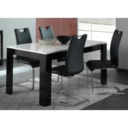 Table de salle à manger design laquée blanc/noir Savana