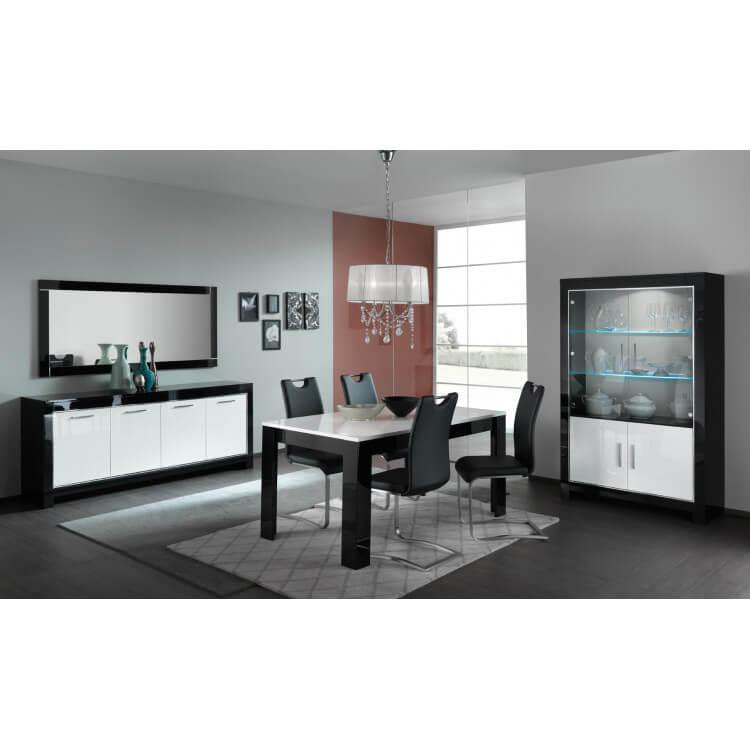 Salle à manger design laquée blanc/noir Savana