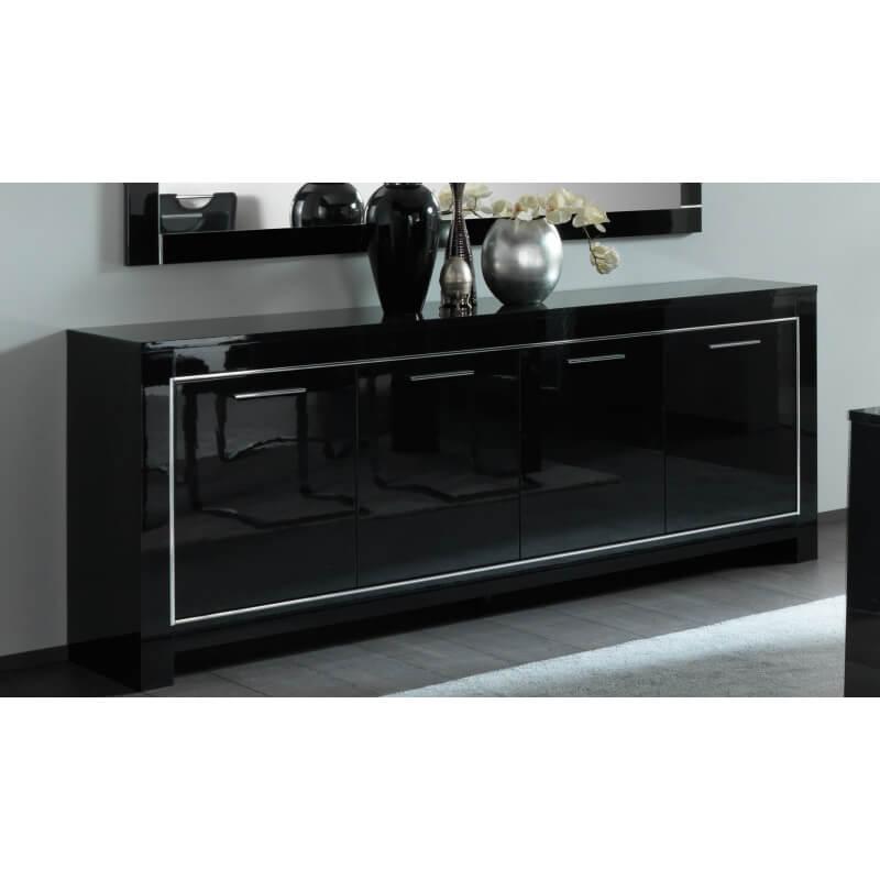 buffet bahut design 4 portes laqu noir manuella. Black Bedroom Furniture Sets. Home Design Ideas