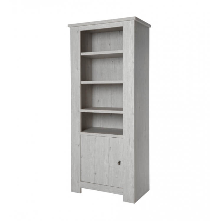 Bibliothèque contemporaine coloris chêne blanc Liliane