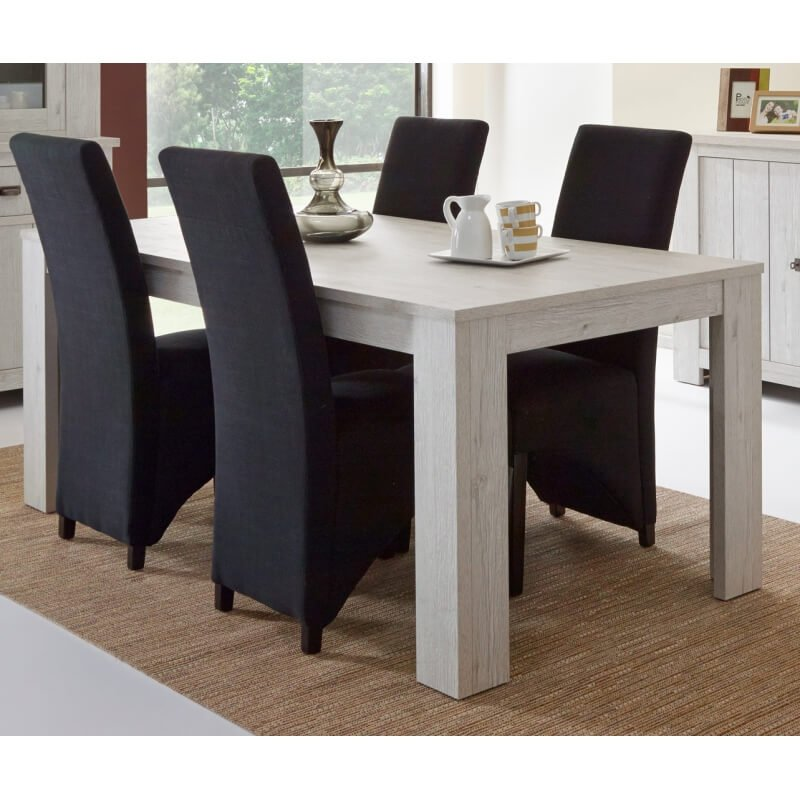 table de salle manger contemporaine coloris ch ne blanc liliane. Black Bedroom Furniture Sets. Home Design Ideas