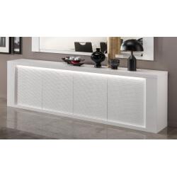 Buffet/bahut design 4 portes laqué blanc avec éclairage Roselia