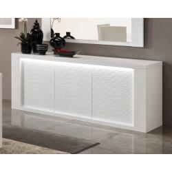 Buffet/bahut design 3 portes laqué blanc avec éclairage Roselia