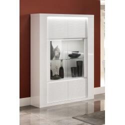 Vitrine design 2 portes laquée blanche avec éclairage Roselia