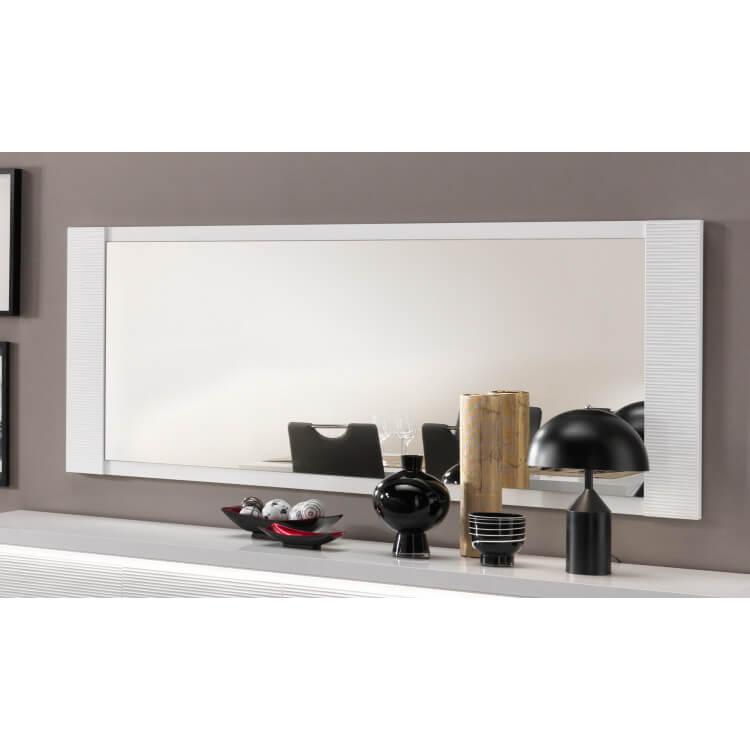 Miroir de salle à manger rectangulaire laqué blanc 210 cm Roselia ...