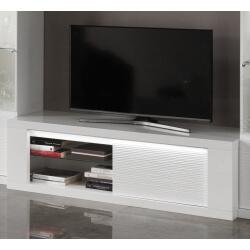 Meuble TV design laqué blanc avec éclairage 150 cm Roselia