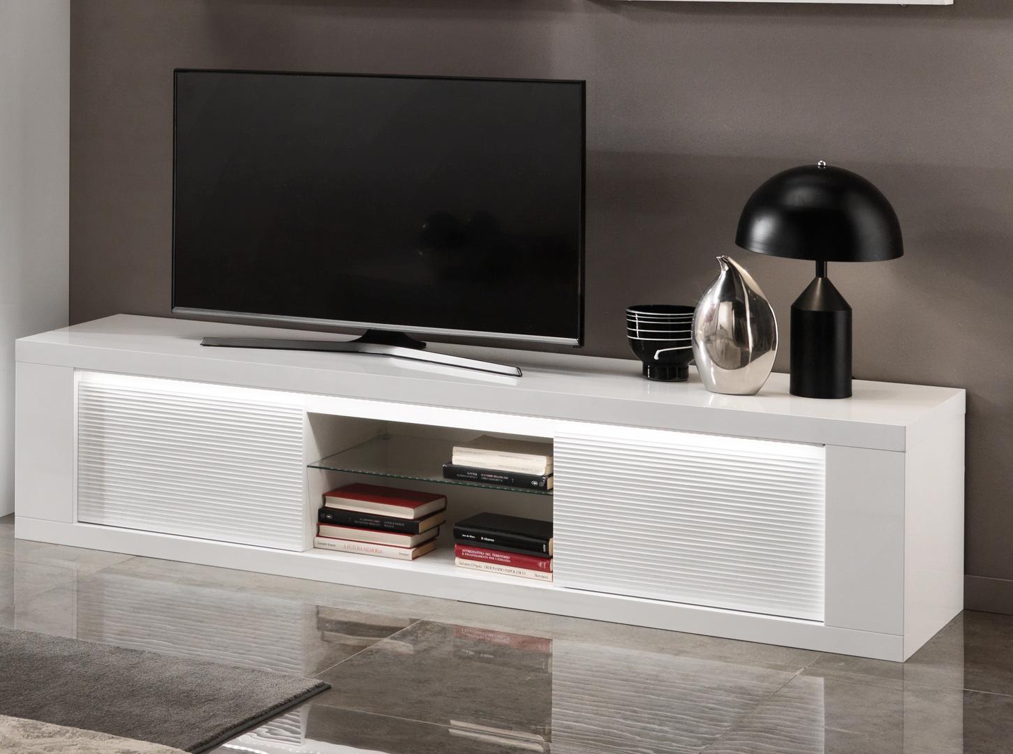 Meuble TV design laqué blanc avec éclairage 195 cm Roselia