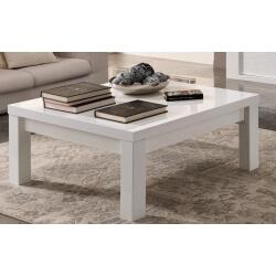 Table basse carrée design laquée blanche Roselia