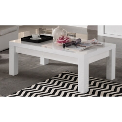 Table basse rectangulaire design laquée blanche Roselia