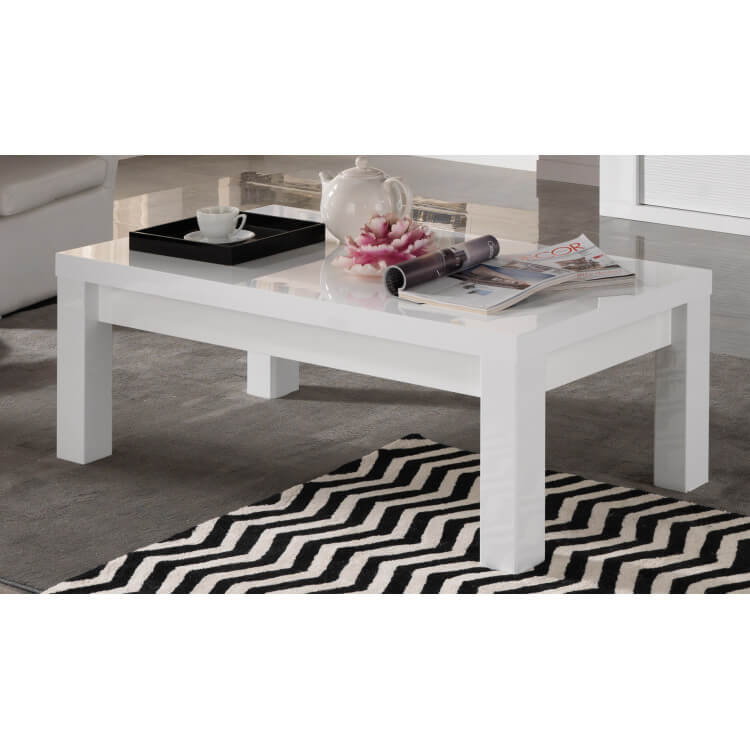 Table Basse Rectangulaire Design Laquee Blanche Roselia