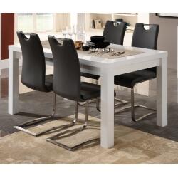 Table de salle à manger design laquée blanche Roselia