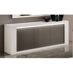 Buffet/bahut design 3 portes laqué blanc/gris avec éclairage Cecile