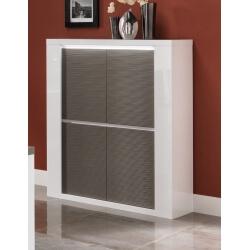 Vaisselier/argentier design laqué blanc/gris avec éclairage Cecile