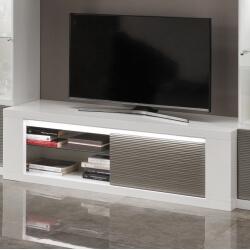 Meuble TV design laqué blanc/gris avec éclairage 150 cm Cecile