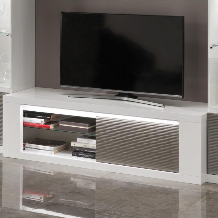 Meuble Tv Design Laque Blanc Gris Avec Eclairage 150 Cm Cecile Matelpro