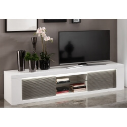 Meuble TV design laqué blanc/gris avec éclairage 195 cm Cecile