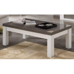 Table basse rectangulaire design laquée blanc/gris Cecile