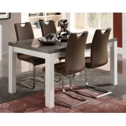 Table de salle à manger design laquée blanc/gris Cecile