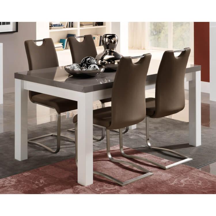 Table de salle à manger design laquée blanc/gris Cecile | Matelpro