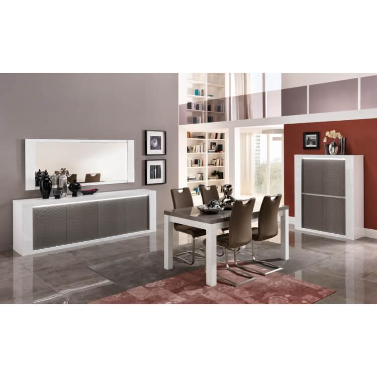 Salle à manger design laquée blanc/gris Cecile