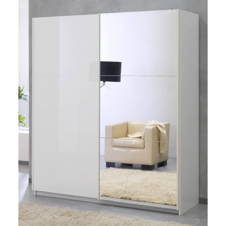 Armoire adulte design portes coulissantes laquée blanche Lutèce
