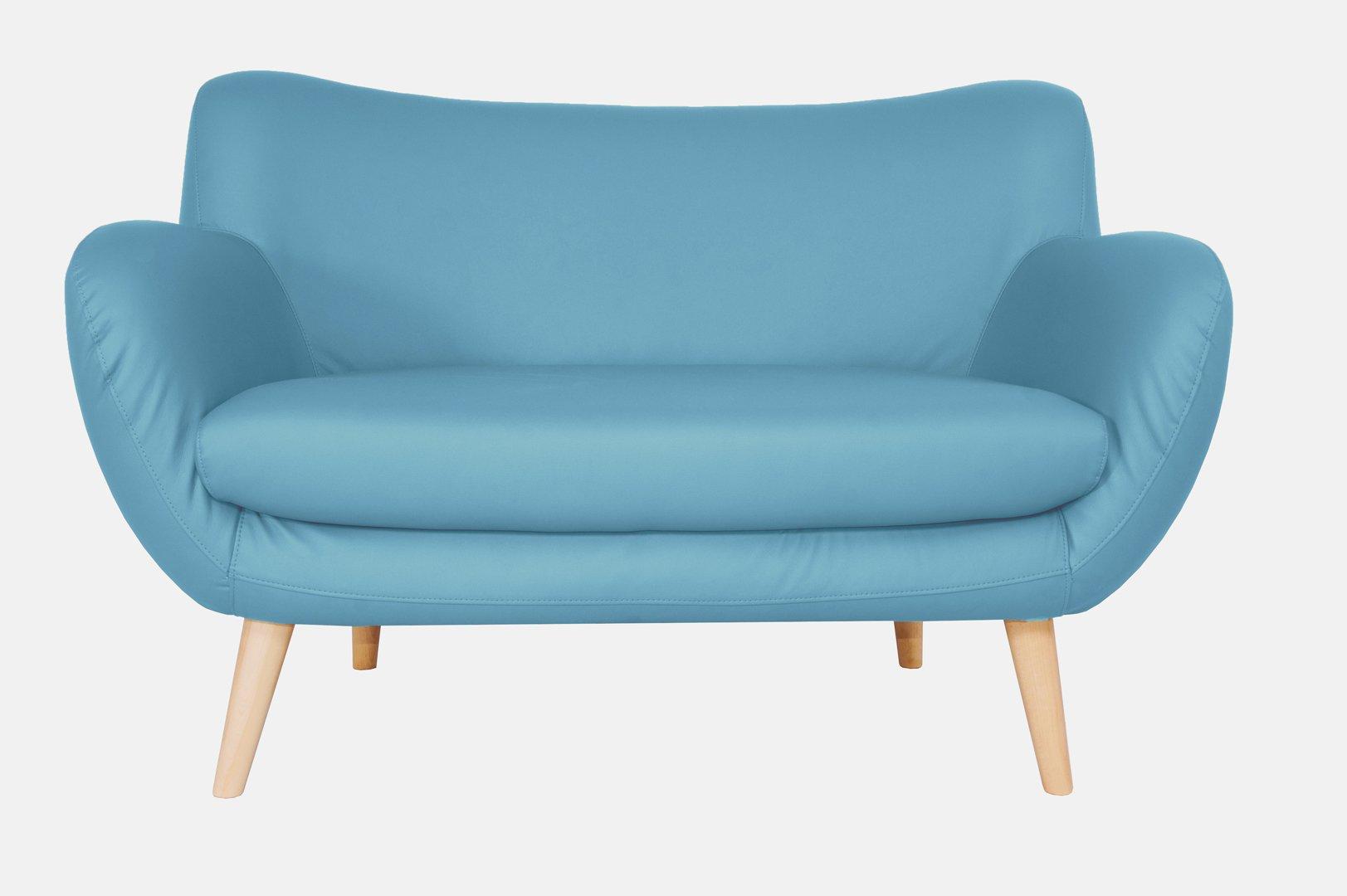 Canapé fixe design 2 places en PU bleu Axelle