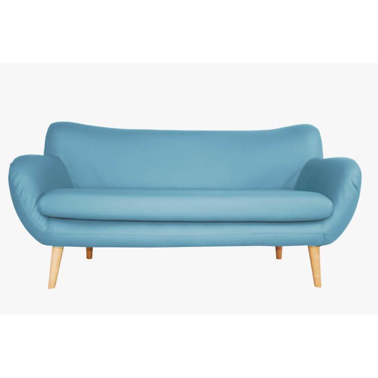 Canapé fixe design 3 places en PU bleu Axelle