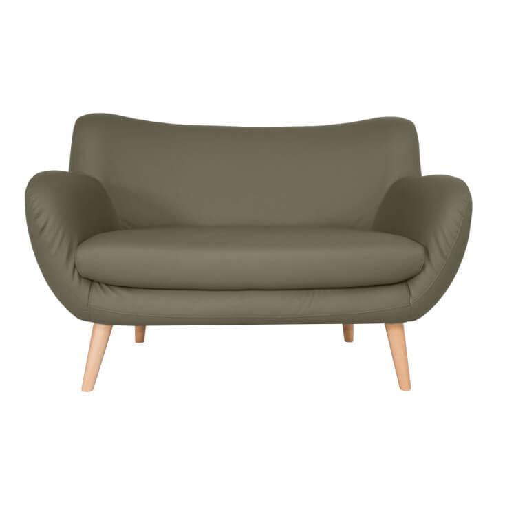 Canapé fixe design 2 places en PU taupe Axelle