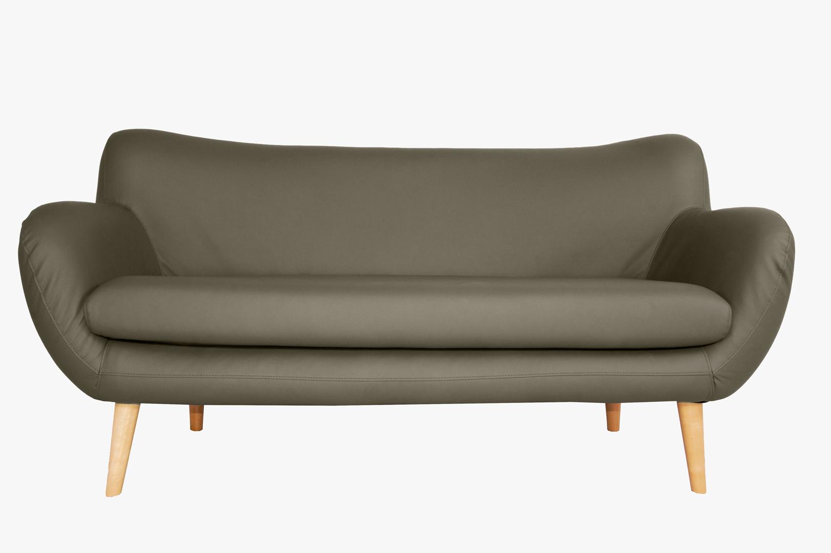 Canapé fixe design 3 places en PU taupe Axelle