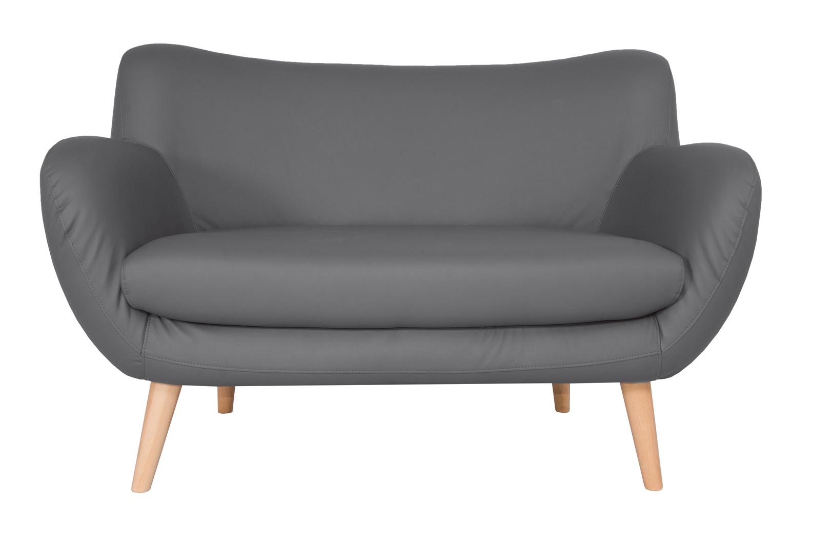 Canapé fixe design 2 places en PU gris Axelle