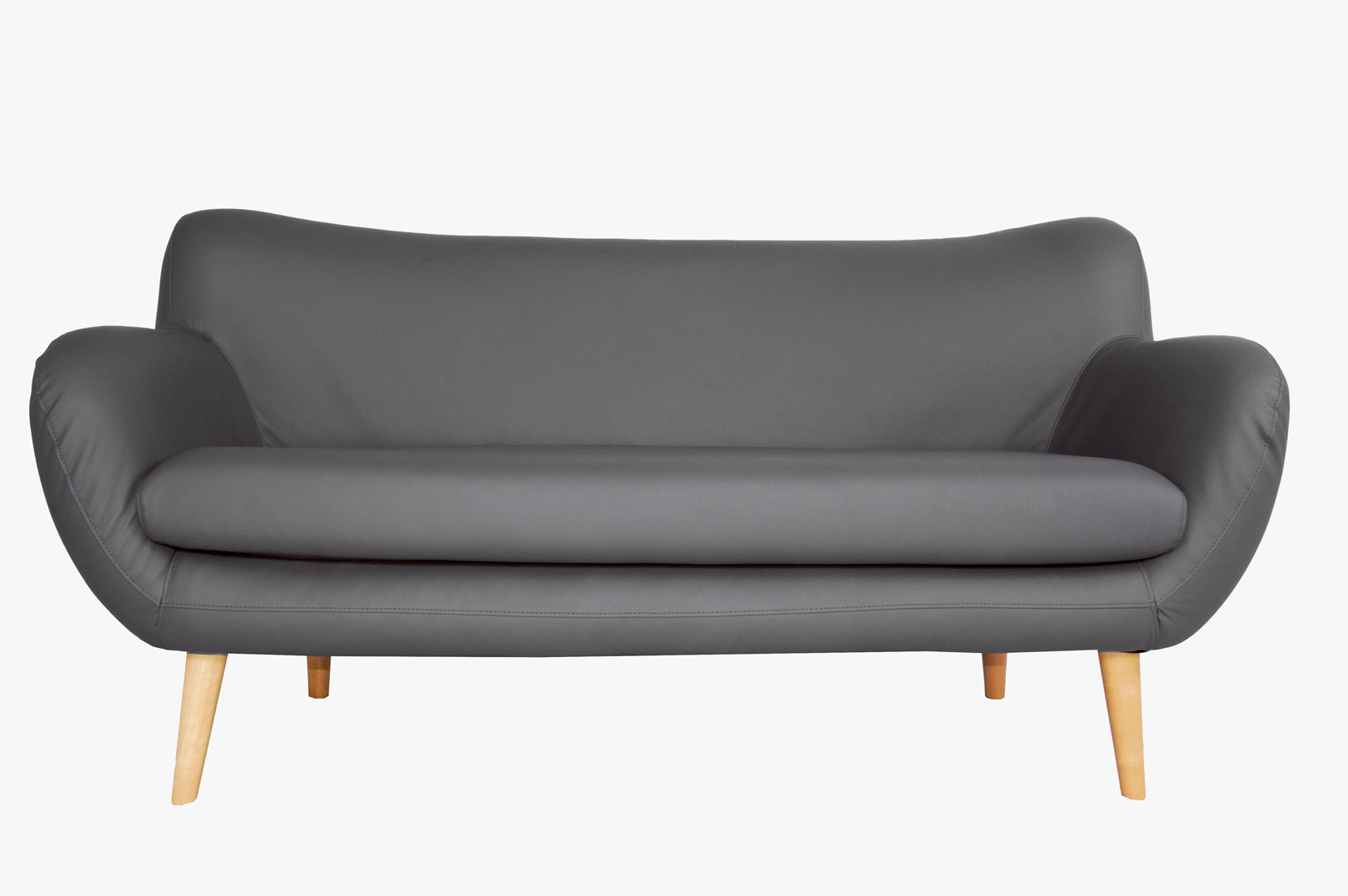 Canapé fixe design 3 places en PU gris Axelle