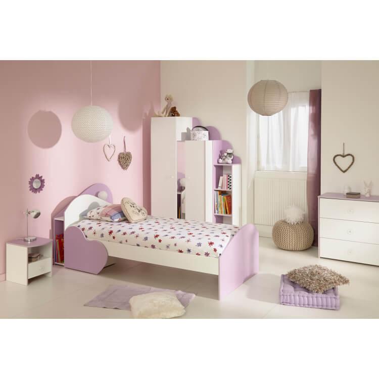 Chambre enfant contemporaine blanche/lilas Elisa II