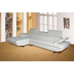 Canapé d'angle fixe BRIGHTON-Blanc-Angle à gauche