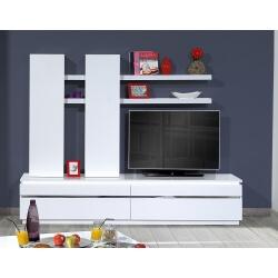 Ensemble TV design blanc brillant avec éclairage Amelie