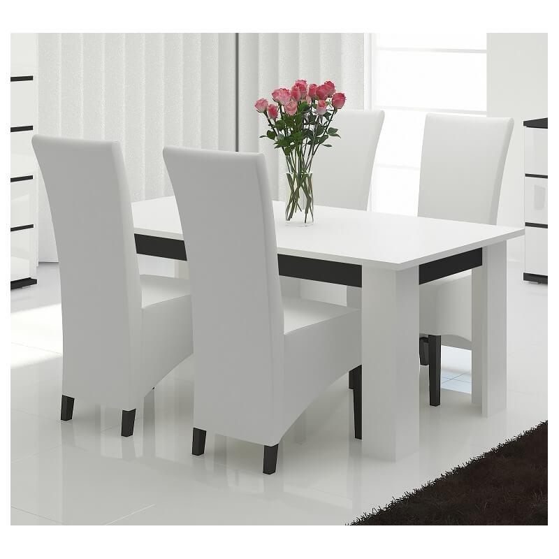 Table de salle manger design laqu e blanc noir olympe - Salle a manger noir et blanc laque ...