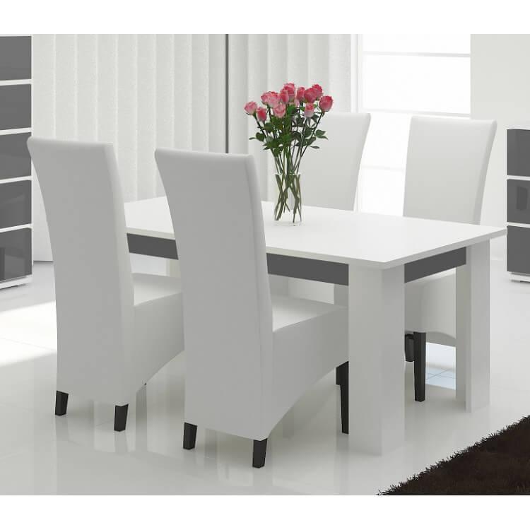 Table de salle à manger design laquée blanc/gris Corsika