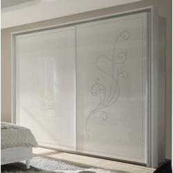 Armoire design portes coulissantes blanche sérigraphiée Baldi