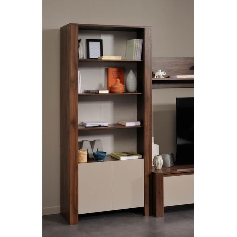 biblioth que contemporaine coloris noyer mastic santiago. Black Bedroom Furniture Sets. Home Design Ideas