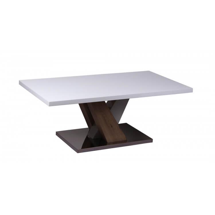 Table basse design rectangulaire blanc laqué Leontine